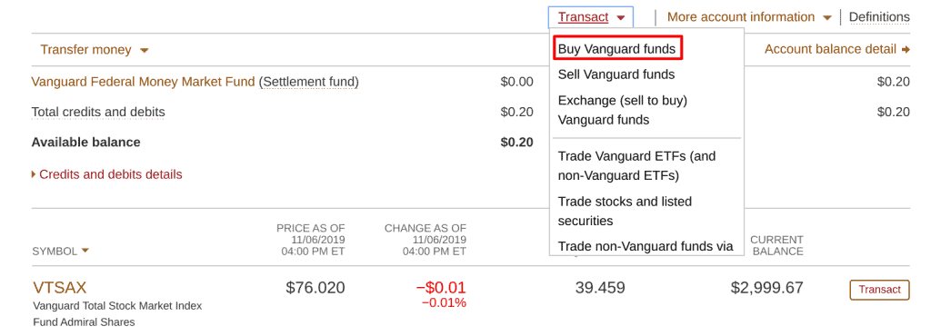 Buying Vanguard Funds